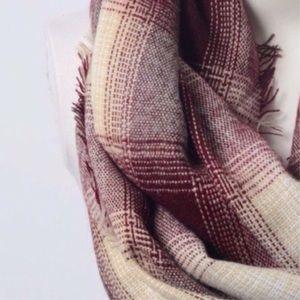 Accessories - Burgundy Plaid Infinity Scarf